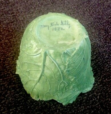 MARY KIRK KELLY AWESOME LEAF PLANTER WITH MOSS Ceramicist Art Signed+ Dated 1982