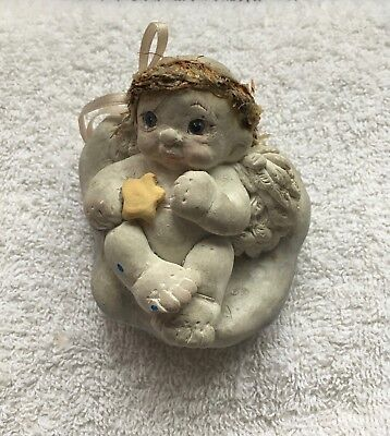 Vintage 1994 Cast Art Angel Cherub Dreamsicle Star on Belly By Kristin