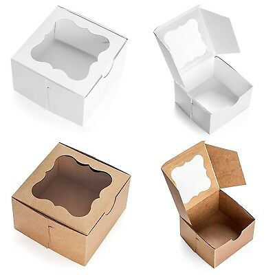 White Bakery Box with Window 4x4x2.5 inch - 25 Pack - Eco-Friendly Paper Boar...