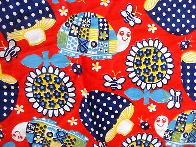 Vintage 60's 70's psychedelic dots turtle sunflower mushroom fabric