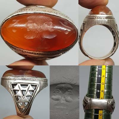 Silver Ancient Agate 2 faces Emperors Intaglio Stone Lovely Ring  # 3B