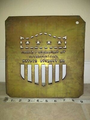 "Brass Crate Stencil - Marshall Plan ""For European Recovery"" USA WW2 Norwegian!"