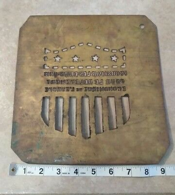 "Brass Crate Stencil - Marshall Plan ""For European Recovery"" USA WW2 FRENCH"