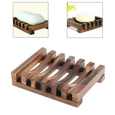 1Pcs Soap Dishes Bath Bathroom Kitchen Wooden Storage Soap Holder Tray Z