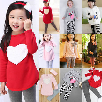 Toddler Kids Baby Girls Outfits Sweater T-shirt Tops Pants Trousers Casual Suit