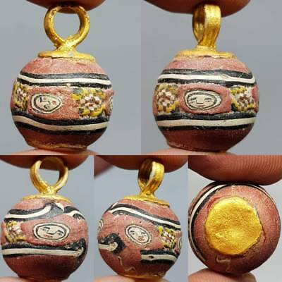 Gold plated pendant With Ancient Mosaic Glass With Faces    # 3B