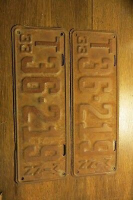 Matched Pair of Antique 1933 Minnesota License Plates T 36-219