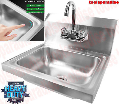 WALL Mounted Large STAINLESS STEEL Restaurant HAND Washing SINK Gooseneck Faucet