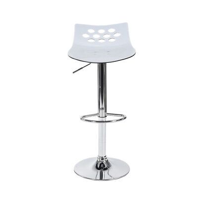 Set of 2  Contemporary white Acrylic Adjustable Height Barstool with Chrome Base