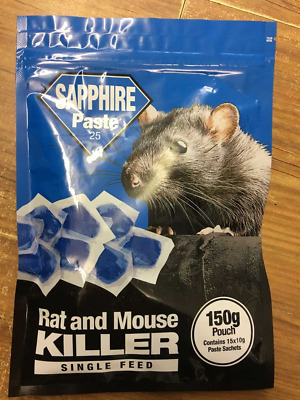 Sapphire Paste Rat & Mouse Bait Killer Single Feed 150g Pouch Fast Lethal Dose