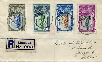 1935 Silver Jubilee Ceylon set on Registered Cover from Lindula see description