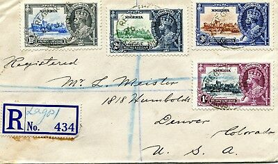 1935 Silver Jubilee Nigeria set on Registered Cover to USA