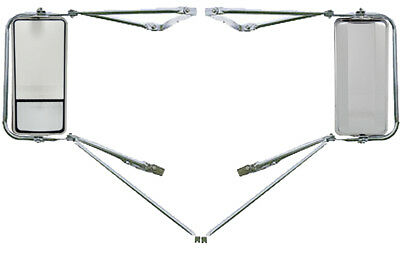 Set of  Chrome Mounting Assembly West Coast Heated Mirror w/ Convex