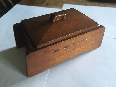 Vintage Antique Art Deco Wooden Box-hand Crafted- Possibly Military