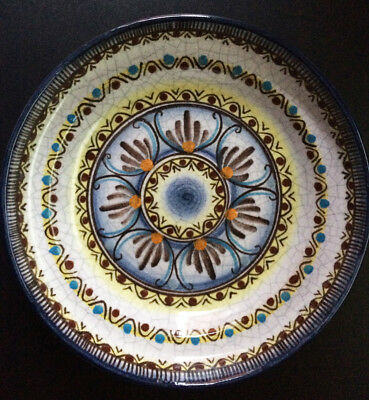"Old Hand Painted Hans Eder Gmunden Austrian Pottery Dish 8"" Ceramic REDUCED"
