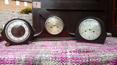 VINTAGE MANTEL CLOCK / 2 CLOCK CASES, 1940s / 50s, ALL FOR SPARES OR REPAIR