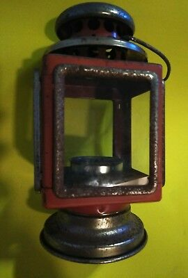 Antique lantern lamp, Candle Holder, Red With Gold/Brass (Color) Old, Tarnished
