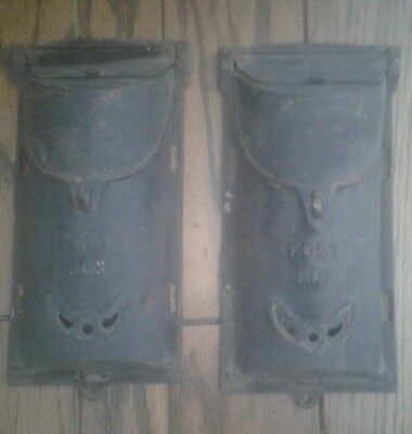 2 Antique Cast Iron Mail boxes