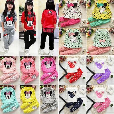 2PCS Kids Baby Girls Outfits Set Minnie Mouse Sweatshirt Tops + Pants Tracksuit