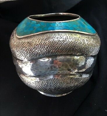 "VERY EARLY LOS CASTILLOS 925 SILVER ""COBRA VASE"" w/Turquoise mosaic tiles EMILIA"