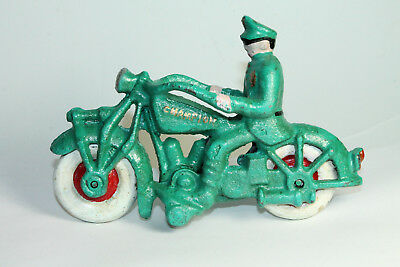 Antique Vintage Style Cast Iron Folk Art Motorcycle Toy