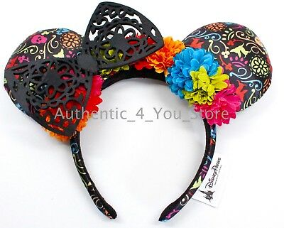 NEW Disney Parks Coco Dia de los Muertos Black Minnie Mouse Ear Headband