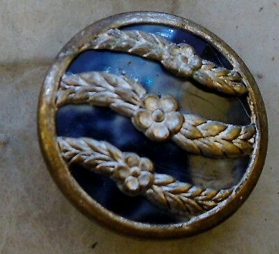 """NICE 7/8"""" Celluloid Background Metal Antique Button 603:24"""