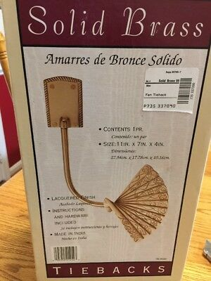 "2 Vintage Ornate FAN Shaped LARGE Solid Brass Curtain Tie Back Size 11""x7""x4"""