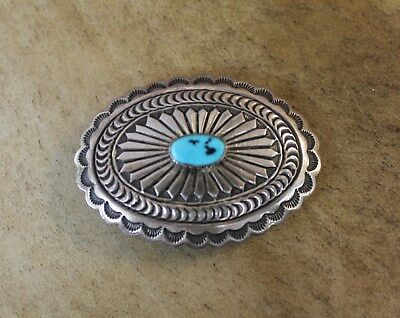 Vintage Dead Pawn Navajo Sterling Silver Turquoise Concho Belt Buckle