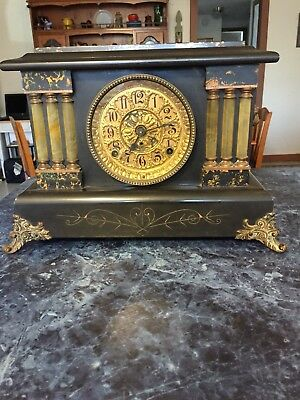 Antique Seth Thomas Adamantine 6 Column Mantle Shelf Clock Lion Heads With Key