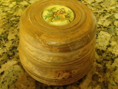 Vintage Round Wood 3 Leg Powder Trinket Makeup Vanity Music Box