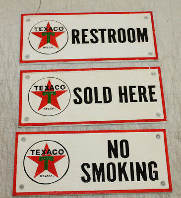 Vintage Style Cast Iron Texaco Gas Station Sign Oil Pump Plate Man Cave