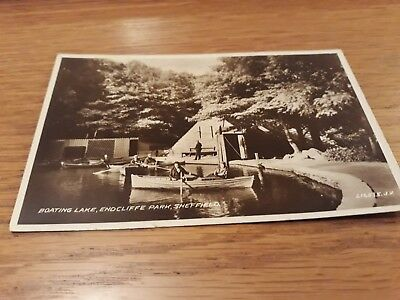 RPPC SHEFFIELD ENDCLIFFE PARK BOATING LAKE nice real photo postcard Valentine's