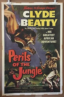 Clyde Beatty Circus Movie Poster - Perils Of The Jungle Original 1953 1-Sheet
