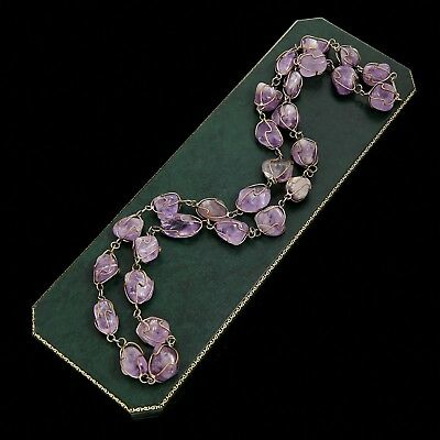 Antique Vintage Deco Sterling Silver Plated Pool Of Light Amethyst Bead Necklace