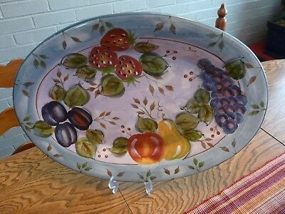 "Heritage Mint Ltd. Vintage Black Forest Fruits 18"" Oval Ceramic Platter"