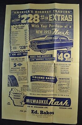 1953 Nash Ambassador Sales Brochure Sheet Airflyte Nice Original 53