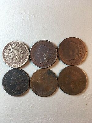 6 Indian Head Ih Pennies Cents Collection Lot Old Rare 1859 1862 1864 1869 1875
