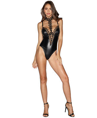 BLACK LEATHER TEDDY Bodysuit Lingerie Women Plus Strappy Lace Cut ... 4a7edb585