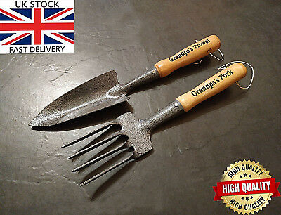 Unique & Unusual Gift Engraved Garden Hand Tools Set Trowel Fork Grandfather Son