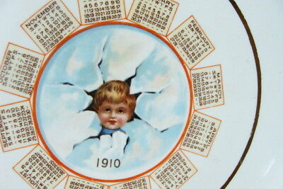 Orig 1910 Atwood & Pattee Boston, Mass Calendar Ceramic Advertising Plate