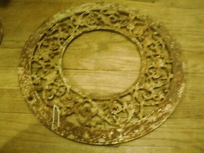 Antique Round Cast Iron Heat Grate / Vent / Register Medallion Ornate Rust 15.5""