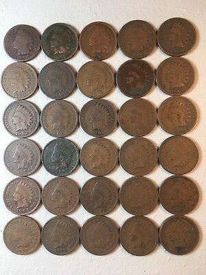 30 Indian Head Ih Pennies Cents Coin Collection Lot Old Rare Antique No Holes