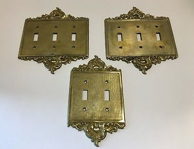 Vintage Solid Brass Ornate Light Switch Cover Plates 2 Triple 1 Double Spain