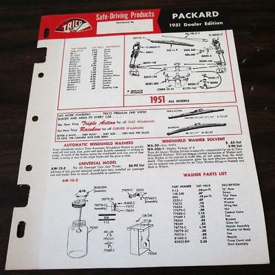 Vintage 1951 Trico Windshield Wiper Specifications For Packard Dealer Catalog M