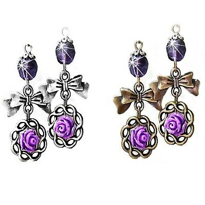 Earrings, purple Rose and bow charm with crystal, long drop vintage style