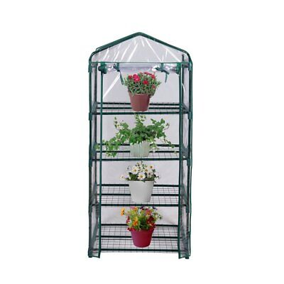 4 Tier Mini Greenhouse 27in Portable Mini Walk In Outdoor Flower Plants Yard US