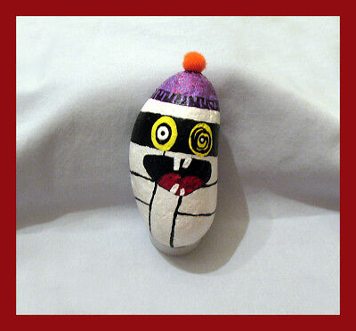 Handpainted Whimsically Creepy MUMMY One Of A Kind Art Rock HALLOWEEN Skull Cap