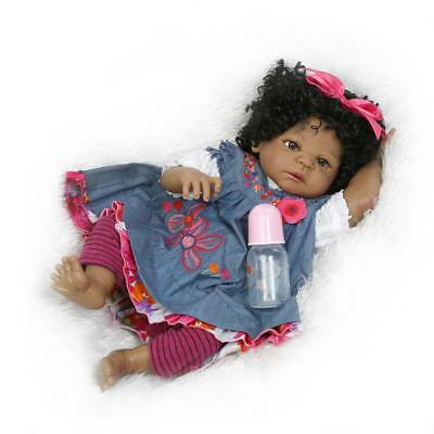 "22"" Black Girl Reborn Baby Doll Handmade Soft Silicone Newborn Lifelike Toy Gift"