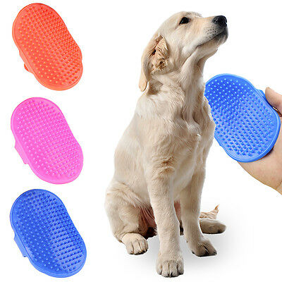2X Dog Cat Bath Brush Comb Rubber Glove Hair Fur Grooming Massaging Brush Mit